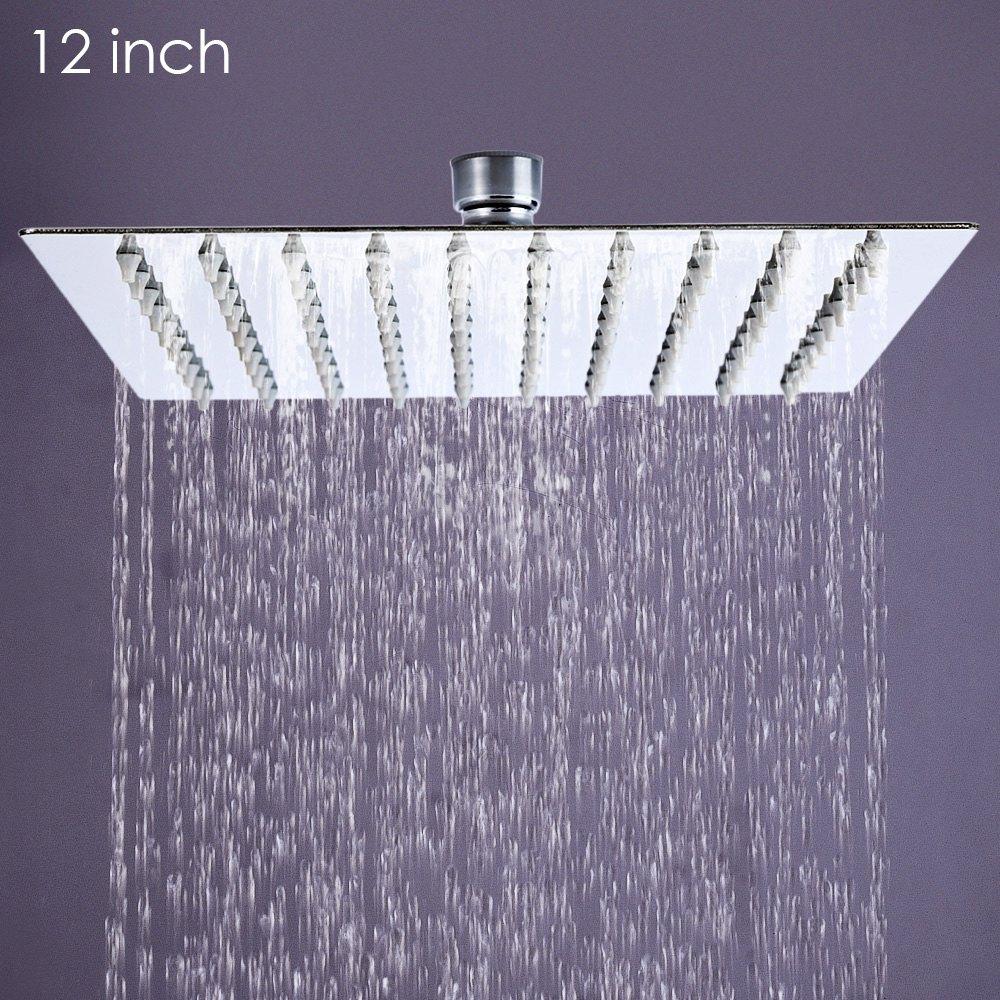 Bathroom Shower 12inch Square Stainless Steel Shower head Faucet Head Rain Ultrathin Ducha Chuveiro 31cm * 31cm Rain Head Shower stainless steel black bathroom ultrathin 2 mm rain shower head 8 10 12 inch wall