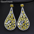 Vintage Design Party Jewelry Sparkling Yellow Cubic Zirconia Created Diamond Big Pear Drop Long Dangle Earrings For Women ER290
