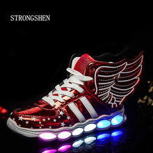 STRONGSHEN Led Children Shoes 2017 USB Charging Basket Shoes With Light Up Kids Casual Boys&Girls Luminous Sneakers Glowing Shoe