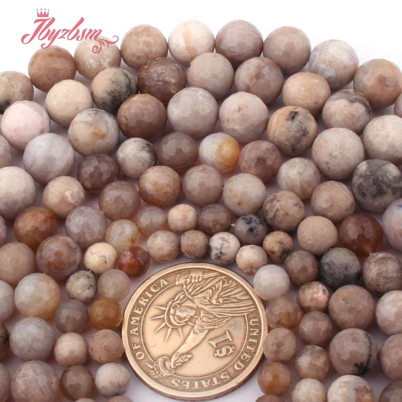 """Round Raw Fossils Ocean Agate Natural Stone Loose Beads for Jewelry Making 15/"""""""