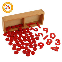 Montessori Material Baby Wooden Math Toy Cut-out Numeral and Counters Early Education Know Number Teaching Aids flyingtown montessori teaching aids balance scale baby balance game early education wooden puzzle children toys