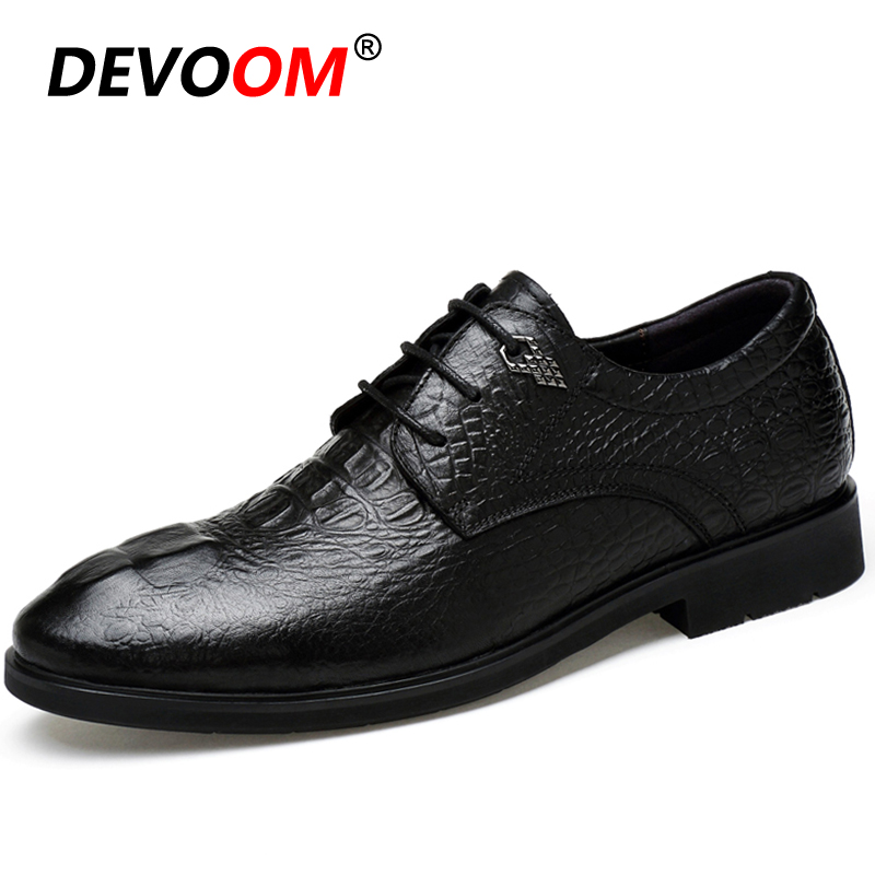 New Crocodile Grain Genuine Leather Oxford Formal Shoes Men Lace Up Casual Business Pointed Shoes Man Wedding Dress Boat Shoes pjcmg new fashion luxury comfortable handmade genuine leather lace up pointed toe oxford business casual dress men oxford shoes