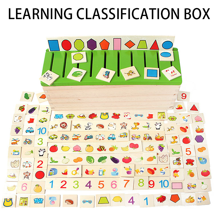 Montessori Educational Kids Toy Wooden Creature Blocks Children Early Learning Knowledge Classification Box Blocks Brinquedos цена