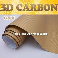 Высокое качество золото 3D карбоновая наклейка Золотой 3D карбоновая виниловая пленка Air Free для автомобиля wrap Размер: 1,52*30 м/рулон