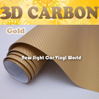 Hohe Qualität Gold 3D Carbonfaseraufkleber Goldene 3D Carbon Fiber Vinyl Film Air Freies Für Auto Wrap Größe: 1,52*30 mt/Rolle