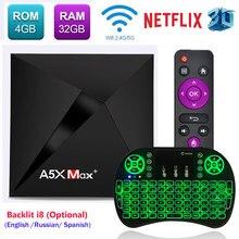 4GB 16GB/32GB RK3328 4K HD Smart Android 8.1 TV Box A5X Max 2.4G/5Ghz WiFi 100M/1000M LAN Bluetooth 4.0 A5X Max Plus Pk X96