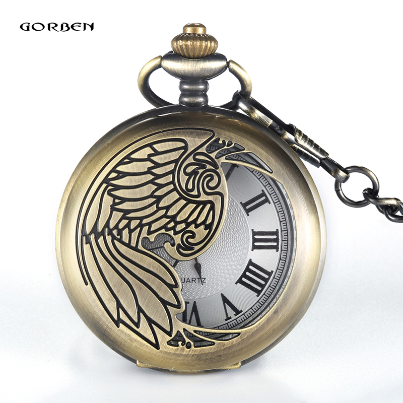 Top Brand GORBEN Bronze Carving Phoenix Pocket Watch With FOB Chain Oriental Elements Quartz Pocket Watch Gift Reloj de bolsillo black star wars galactic empire badge pattern quartz pocket watch with key chain male female clock reloj de bolsillo masculino