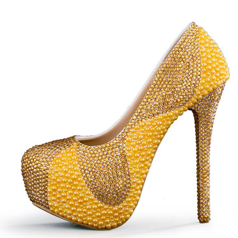 new yellow wedding shoes with pearl and gold rhinestone handmade sparkling women pumps bridal dress shoes