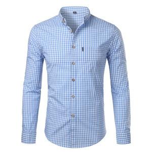 Image 5 - Mens Plaid Cotton Casual Slim Fit Long Sleeve Button Down Dress Shirts 2018 Fashion Men Work Business Brand Shirt Chemise Homme
