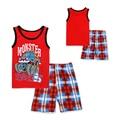 2016 Summer Kids Pajamas Boys T-shirts + Plaid Shorts Suits Cartoon Dinosaur Cotton Baby Pijamas Outfit Children Clothing Set