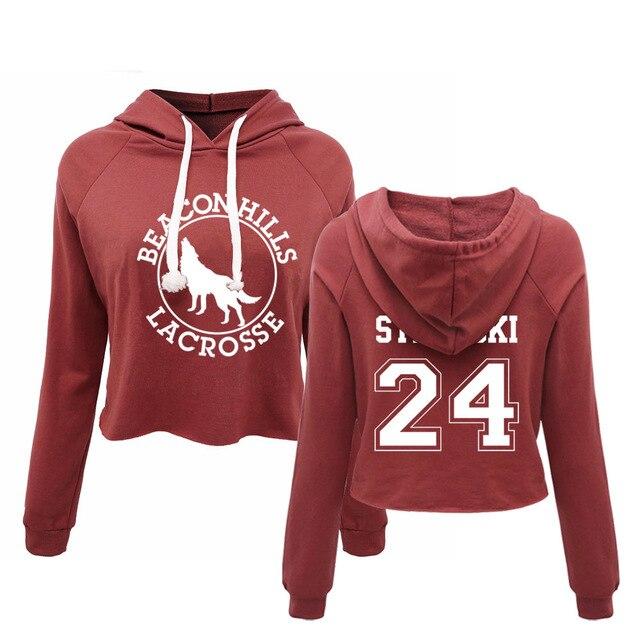 BEACON HILLS LACROSSE Hoodie croptop Camiseta Teen Wolf Stiles Stilinski 24 Lahey 14 Cropped Women Sexy Pullover Sweatshirt Tops