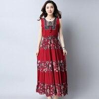 Cotton Linen Summer Dress Plus Size Print Pleated Floral Women Dress Vintage Was Thin Long Dress Stitching Sleeveless Dress