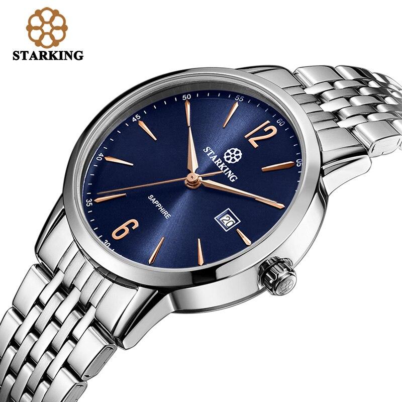 ФОТО STARKING Relogio Feminino Unique Blue Dial Watch Women Fashion Steel Bracelet Quartz Watch 3atm Waterproof Orologio Donna BL0976