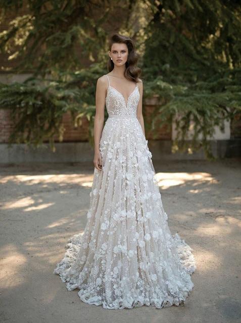 3fbf3c36cfb SSYFashion New Luxury Wedding Dress Sexy V-neck Backless Beach Sweep Train  Champagne Lace Flower Lllusion Formal Wedding Gown