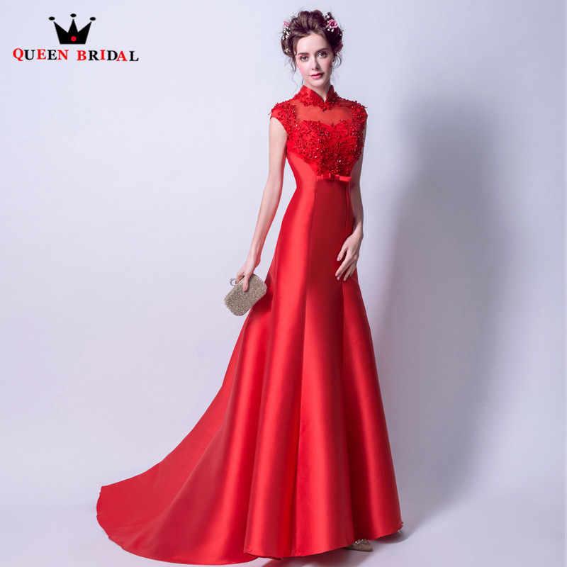 202e9a21973 Русалка с высоким воротом атласное кружево бисером красный сексуальные длинные  вечерние платья 2018 Новые Вечерние платья