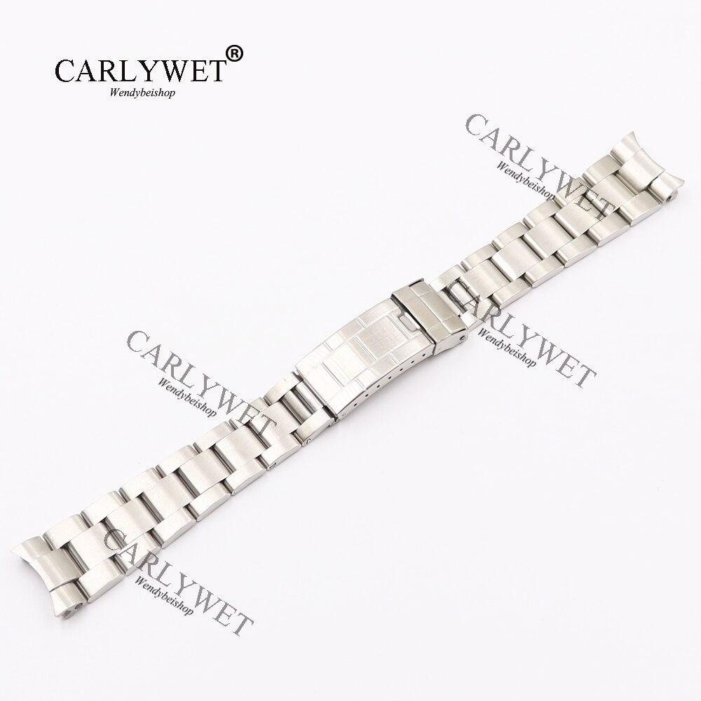CARLYWET 20mm Argent Solide Courbe Fin Vis Liens Montre En Acier de Courroie De Bande Vieux Style Bracelet Ceinture Pour Vintage Sous-Marinier