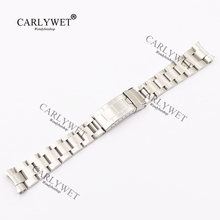 лучшая цена CARLYWET 20mm New Silver All Brushed Solid Curve End Screw Links 316L Stainless Steel Watch Band Strap Old Style Bracelet Belt