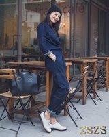 Women fashion casual overalls jeans denim harem pants