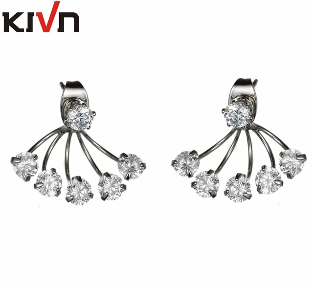 Kivn Fashion Jewelry Cz Cubic Zirconia Bridal Wedding Stud Ear Earring Jackets For Women Mothers Day