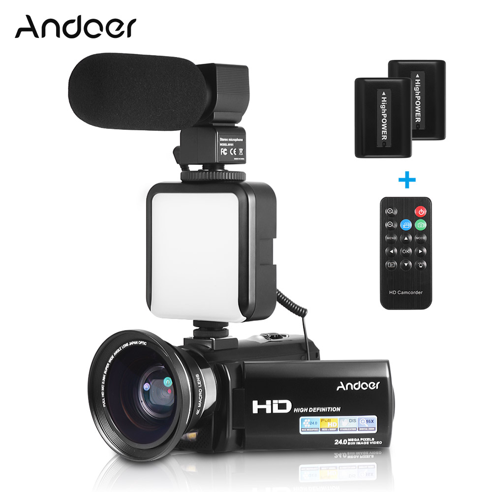 Andoer 1080p Fhd Digital Video Camera Dv Recorder 24mp 16x Digital Zoom With 2pcs Rechargeable Batteries
