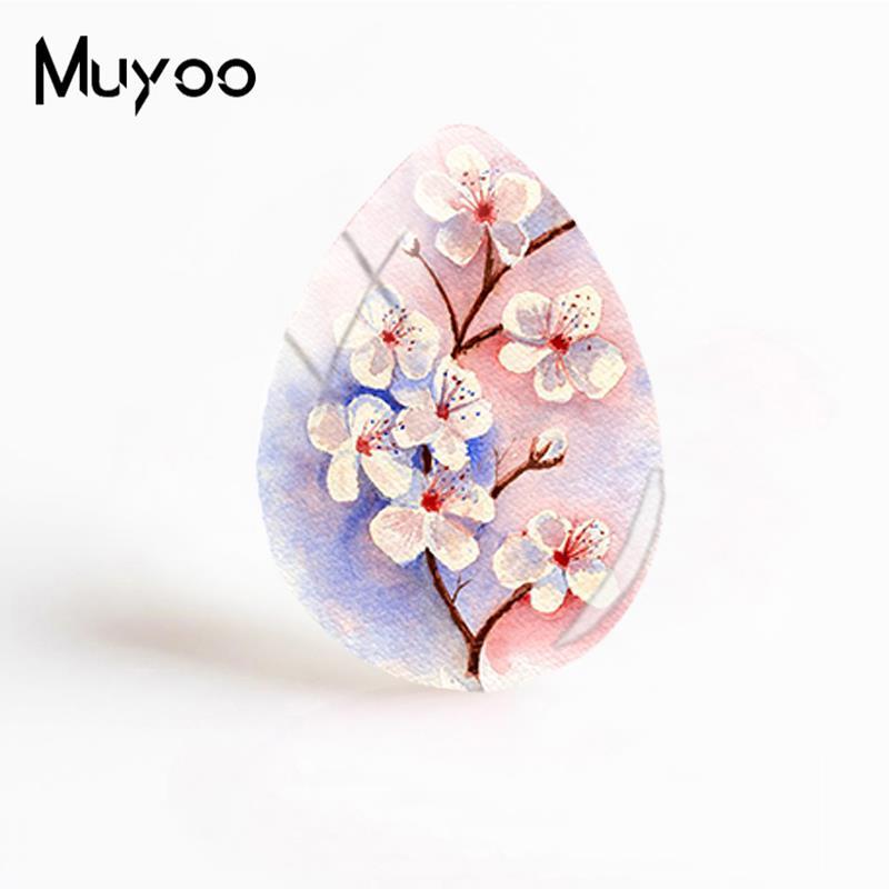 Новые вишневые цветы стеклянные кабошоны розовые цветы художественные узоры ручной работы ювелирные изделия слеза капельки Кабошоны