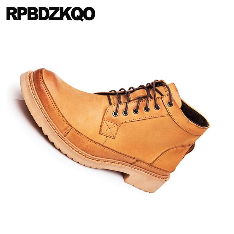 Rendas Curtas Amarelo Grão Militar amarelo Sapatos Exército De Britânico Genuíno Marrom Grossas Até Homens Combate Estilo Couro Do Cheio Botas Retro Designer v06wAH4xq