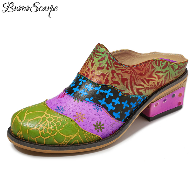 Buono Scarpe Women Ethnic Heels Slippers 2019 Colorful Graffiti Flowers Vintage Single Shoes Round Tor Carved