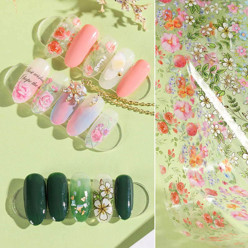 HNUIX 10 colours Nail Leaf Stickers Varnish Mix Rose Flower Transfer Foil Nails Decal Cursors For Nail Foil Manicure Sticker
