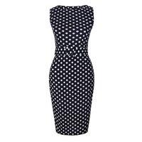 Plus Size Mulheres Vestidos de Roupas Tamanhos Grandes Vestido Lápis Elegante Fêmea Polka Dot Bainha Cabido Bodycon Bandage Vestidos de Verão