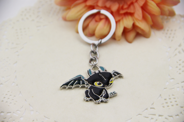 Fashion Jewelry Silver Charm How To Train Your Dragon 2 Toothless Night Fury Animal Pendant Keychain New Style key holder fashion cartoon anime movie jewelry how to train your dragon pendant keychain keyrings charms toothless monster dropshipping