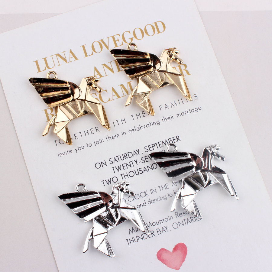 10pcs Diy Manual Gold/silver Unicorn Horse Pendant Jewelry Making Animal Cartoon Charms Handmade Earring Necklace Accessory