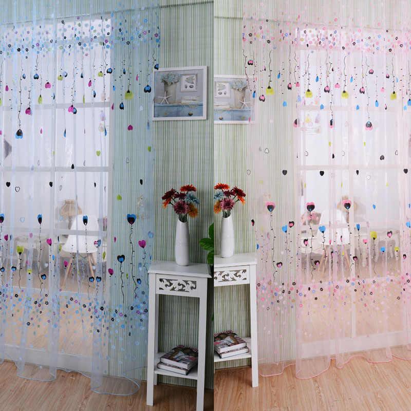 Balloon Tulle Voile Door Window Curtain Drape Panel Sheer Scarf Valances Pink Blue
