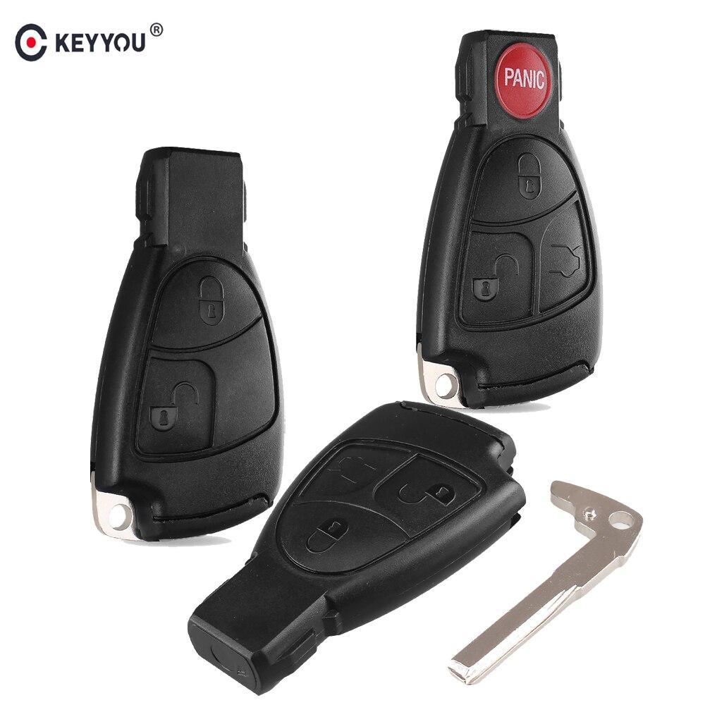 KEYYOU pil tutucu ile 2/3/3 + 1 düğme akıllı uzaktan araba anahtarı kabuk Fob vaka kapak için Mercedes benz B C E ML S CLK CL
