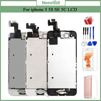 Dla iPhone 5 5S 5C wyświetlacz LCD ekran dotykowy Digitizer strona główna przycisk montaż kamery wymiana 5s wyświetlacz dla iPhone 5S LCD w Ekrany LCD do tel. komórkowych od Telefony komórkowe i telekomunikacja na