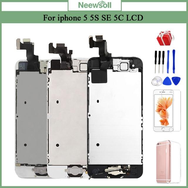 עבור iPhone 5 5S 5C LCD תצוגת מסך מגע Digitizer בית כפתור מצלמה הרכבה Replacement5s תצוגה עבור iPhone 5S LCD