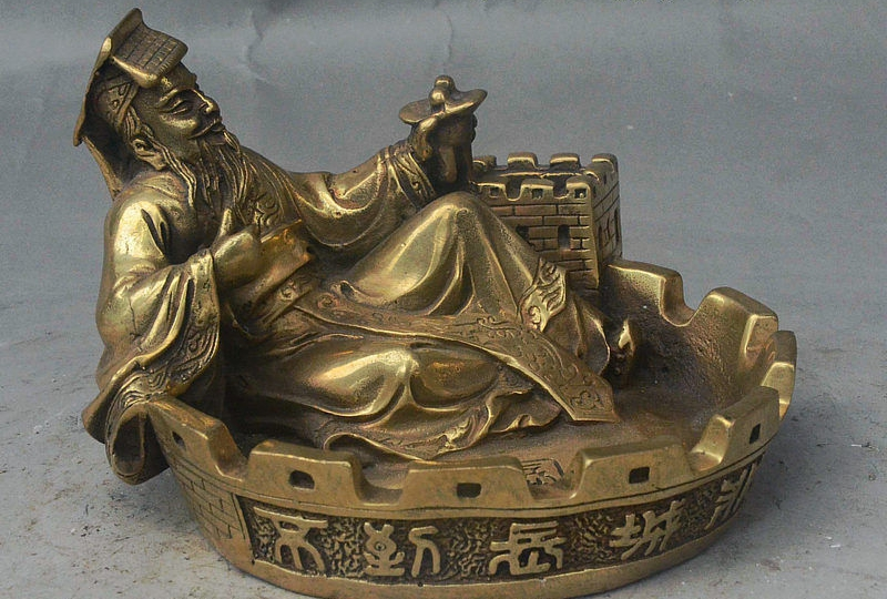 "6"" Folk China Palace Bronze First Emperor of Qin Great Wall Brush Washer Ashtray"