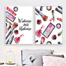 Makeup Fashion Wall Art Canvas Painting Prints Posters Wake Up Make Picture Paintings For Home Decor No Frame PD2603