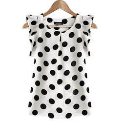 Модная одежда для девочек в горошек блузка для женщин Повседневное шифоновая рубашка без рукавов рубашка с рюшами летние топы