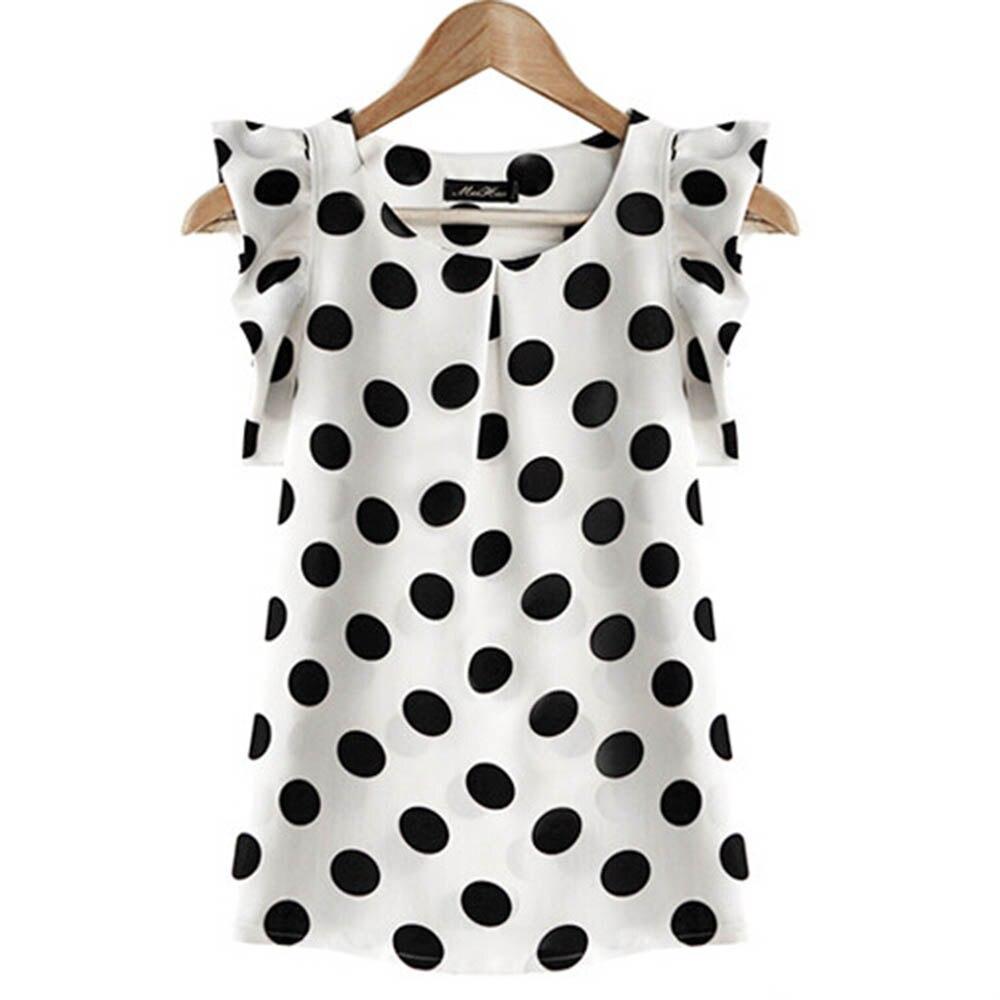 אופנה ילדה נקודות חולצה נשים מקרית שיפון חולצה ללא שרוולים לפרוע שרוול חולצה קיץ חולצות שחור לבן