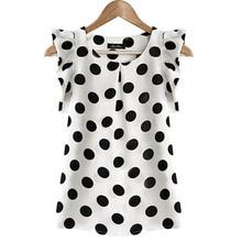 Fashion  Girl Dots Blouse Women Casual Chiffon Shirt Sleeveless Ruffle Sleeve Shirt Summer Tops Black White все цены