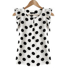 Fashion Girl Dots Blouse Women Casual Chiffon Shirt Sleeveless Ruffle Sleeve Shirt Summer Tops Black White(China)