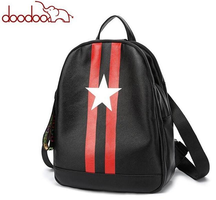 DOODOO Original New Women Star Backpack Softback Travel Backpacks Korean Female PU Leather Women Mochilas FR539