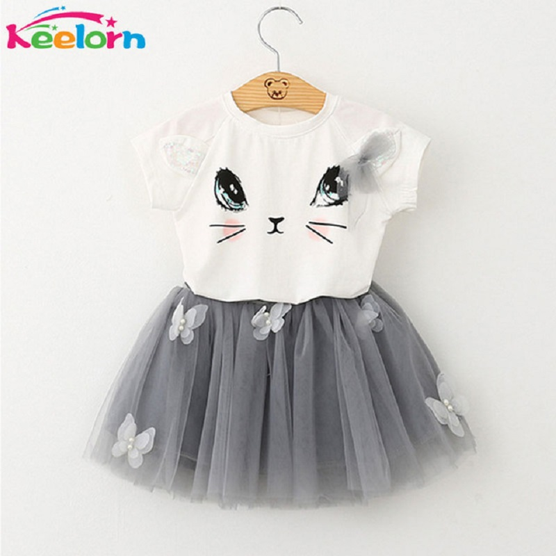 Kids Girls Clothing Sets 2017 Summer New Brand Girls Clothes White Cartoon Short Sleeve T-Shirt+Veil Dress 2Pcs Children Clothes family fashion summer tops 2015 clothers short sleeve t shirt stripe navy style shirt clothes for mother dad and children
