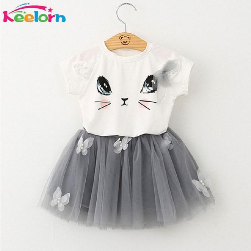 Kids Girls Clothing Sets 2017 Summer New Brand Girls Clothes White Cartoon Short Sleeve T-Shirt+Veil Dress 2Pcs Children Clothes