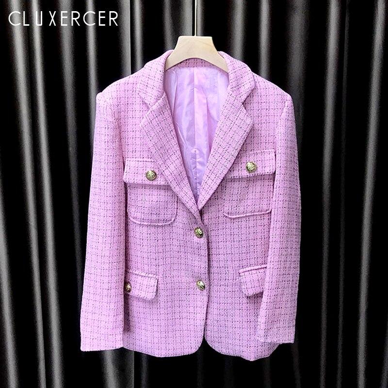 High Quality Newest Women Plaid Tweed Blazer 2019 Spring Autumn Korea Style Pink Blue Long Sleeve Office Lady Blazer Coat Mujer