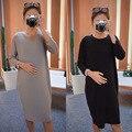 Nova Gravidez Roupas Na Altura Do Joelho-Comprimento Maternidade Vestidos Maternidade Roupas 6MDS064 Femme Enceinte