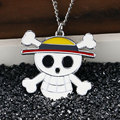 2016 Hot Cool Christmas Gifts One Piece Anime Necklace Pocket Watch Clock Cosplay Skull Cross Bone Alloy Chain Children Kid