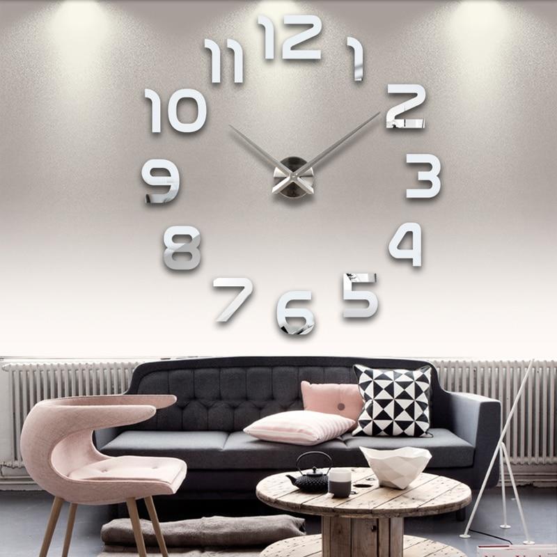 new clock watch wall clocks horloge 3d diy acrylic mirror Stickers Home Decoration Living Room Quartz Needle free shipping(China)