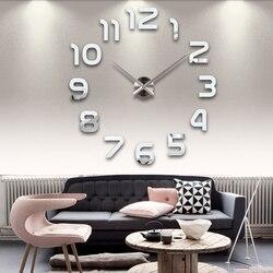 Novo relógio relógio de parede relógios horloge 3d diy acrílico espelho adesivos decoração para casa sala quartzo agulha frete grátis