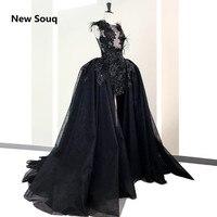 Черный двойка платье для выпускного вечера es со съемной юбкой перо Иллюзия декольте без рукавов, высокая пройма платье для выпускного вечер